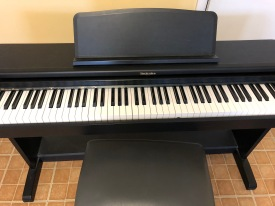 Full size keyboard with 2 pedals. Easy to move, full piano sound and weighted keys